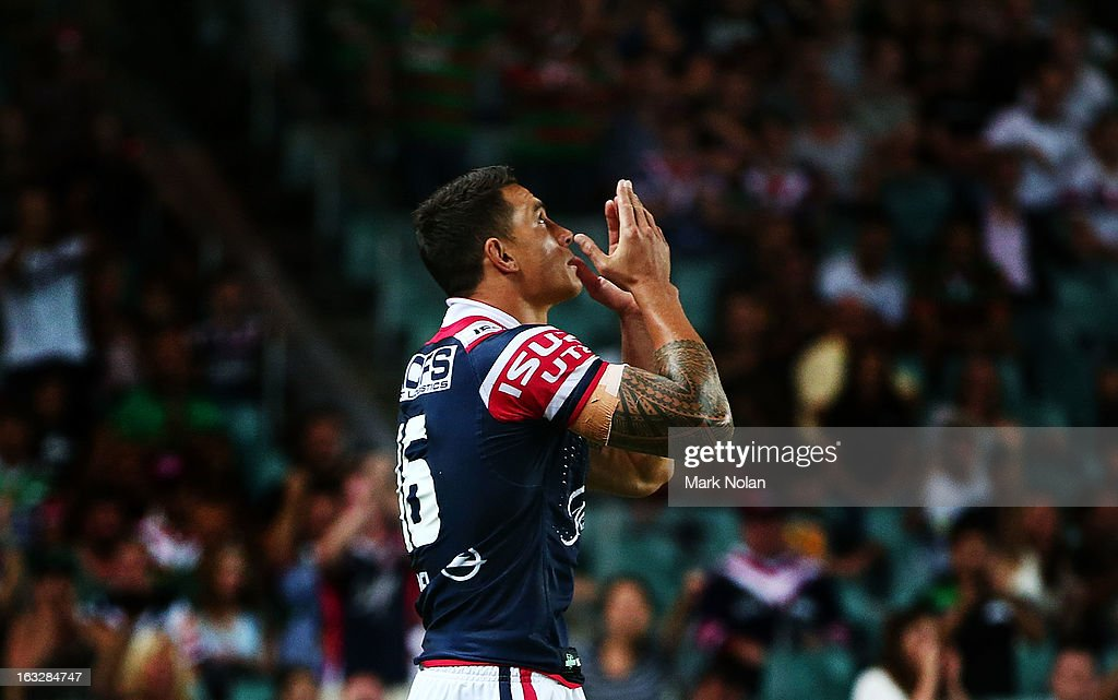<a gi-track='captionPersonalityLinkClicked' href=/galleries/search?phrase=Sonny+Bill+Williams&family=editorial&specificpeople=204424 ng-click='$event.stopPropagation()'>Sonny Bill Williams</a> of the Roosters comes off the bench and enters his first NRL match for the Roosters during the round one NRL match between the Sydney Roosters and the South Sydney Rabbitohs at Allianz Stadium on March 7, 2013 in Sydney, Australia.
