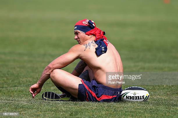 Sonny Bill Williams of the Roosters trains during a Sydney Roosters NRL training session at Moore Park on September 10 2013 in Sydney Australia