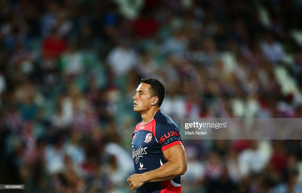 Sonny Bill Williams of the Roosters warms up before the round one NRL match between the Sydney Roosters and the South Sydney Rabbitohs at Allianz Stadium on March 7, 2013 in Sydney, Australia.