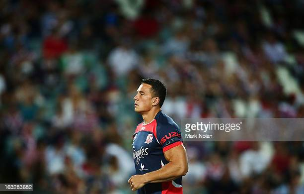 Sonny Bill Williams of the Roosters warms up before the round one NRL match between the Sydney Roosters and the South Sydney Rabbitohs at Allianz...