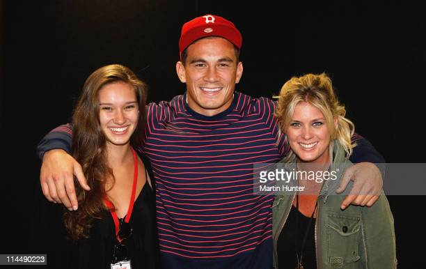 Sonny Bill Williams poses with Rachel Hunter and her daughter Rene Hunter19 during the Rise Up Christchurch telethon appeal event at CBS Canterbury...