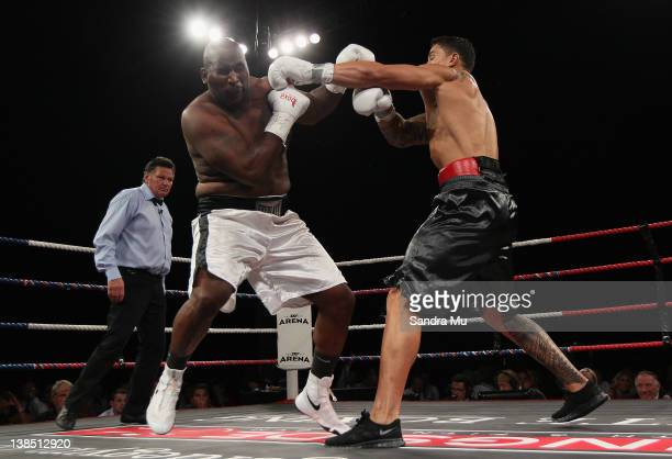 Sonny Bill Williams punches Clarence Tillman during the Battle for the Belt match between Sonny Bill Williams and Clarence Tillman III at Claudelands...