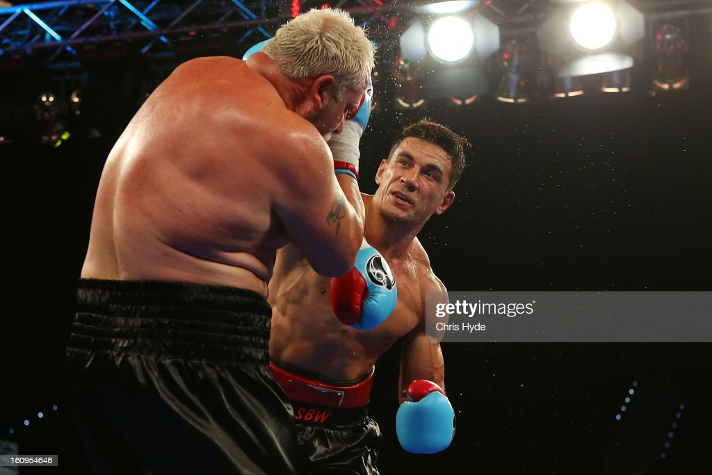 <a gi-track='captionPersonalityLinkClicked' href=/galleries/search?phrase=Sonny+Bill+Williams&family=editorial&specificpeople=204424 ng-click='$event.stopPropagation()'>Sonny Bill Williams</a> punches Francois Botha during their heavyweight bout at the Brisbane Entertainment Centre on February 8, 2013 in Brisbane, Australia.