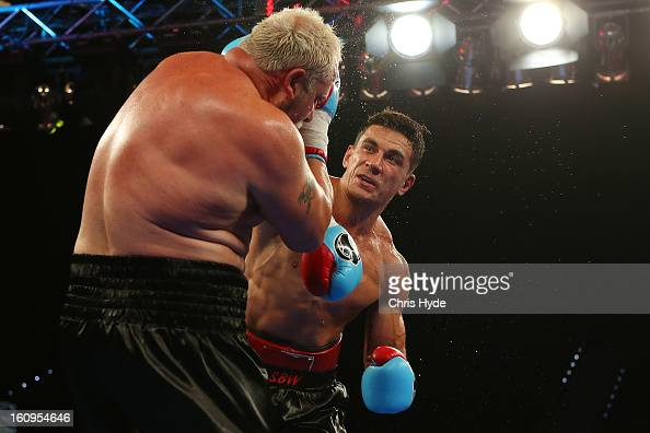 Sonny Bill Williams punches Francois Botha during their heavyweight bout at the Brisbane Entertainment Centre on February 8 2013 in Brisbane Australia