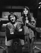 Sonny Bono US singer and his wife US singer and actress Cher on the ITV music show 'Ready Steady Go' at Wembley Studios London England Great Britain...