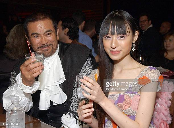 Sonny Chiba and Chiaki Kuriyama during 'Kill Bill Volume 1' New York City Premiere After Party at Noche in New York City New York United States