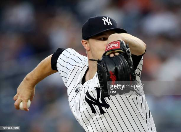 Sonny Gray of the New York Yankees delivers a pitch in the first inning against the New York Mets during interleague play on August 15 2017 at Yankee...