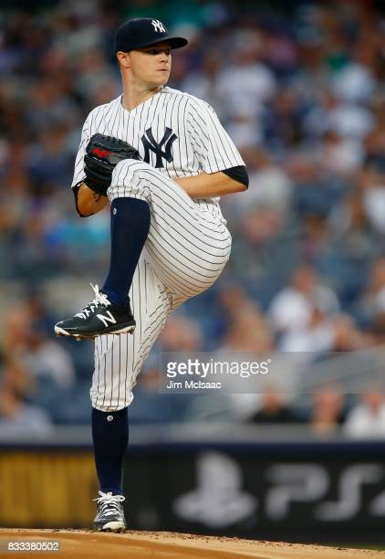 Sonny Gray of the New York Yankees in action against the New York Mets at Yankee Stadium on August 15 2017 in the Bronx borough of New York City The...