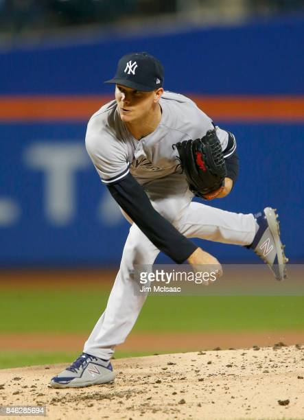 Sonny Gray of the New York Yankees in action against the Tampa Bay Rays at Citi Field on September 12 2017 in the Flushing neighborhood of the Queens...