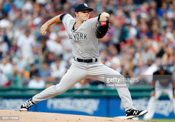 Sonny Gray of the New York Yankees pitches against the Cleveland Indians in the first inning at Progressive Field on August 3 2017 in Cleveland Ohio