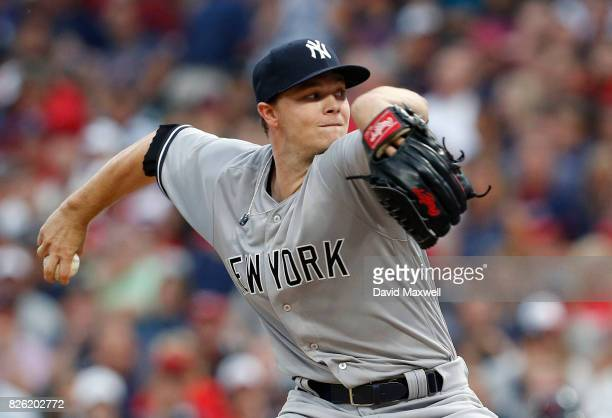 Sonny Gray of the New York Yankees pitches against the Cleveland Indians in the third inning at Progressive Field on August 3 2017 in Cleveland Ohio...