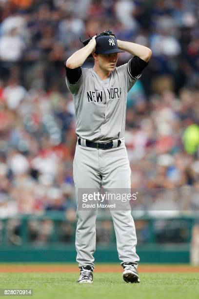 Sonny Gray of the New York Yankees pitches against the Cleveland Indians in the fourth inning at Progressive Field on August 3 2017 in Cleveland Ohio...