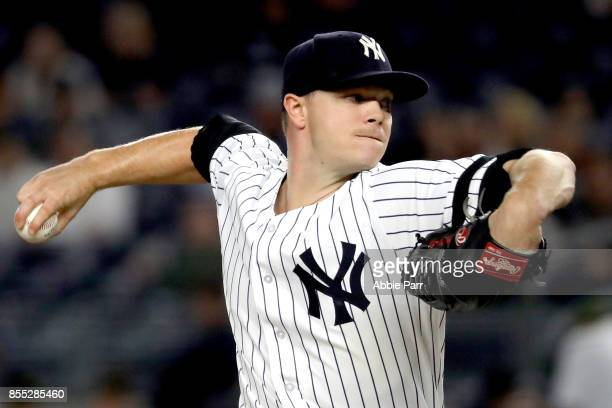 Sonny Gray of the New York Yankees pitches during the first inning against the Tampa Bay Rays at Yankee Stadium on September 28 2017 in the Bronx...
