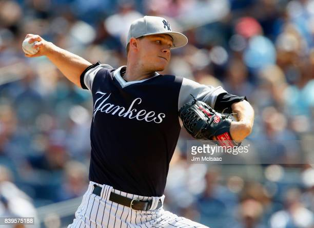 Sonny Gray of the New York Yankees pitches in the first inning against the Seattle Mariners at Yankee Stadium on August 26 2017 in the Bronx borough...