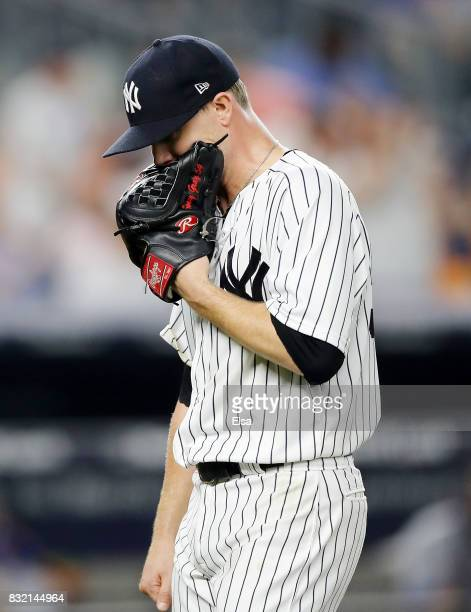 Sonny Gray of the New York Yankees reacts as he is pulled from the game in the seventh inning against the New York Mets during interleague play on...