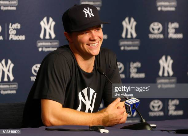 Sonny Gray of the New York Yankees speaks to the media prior to a game against the Detroit Tigers at Yankee Stadium on August 1 2017 in the Bronx...
