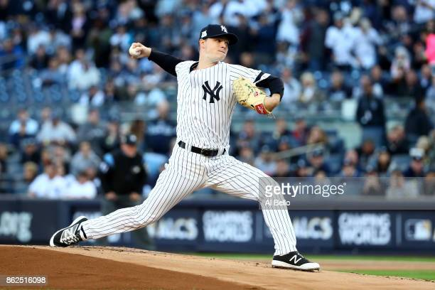 Sonny Gray of the New York Yankees throws a pitch against the Houston Astros during the first inning in Game Four of the American League Championship...