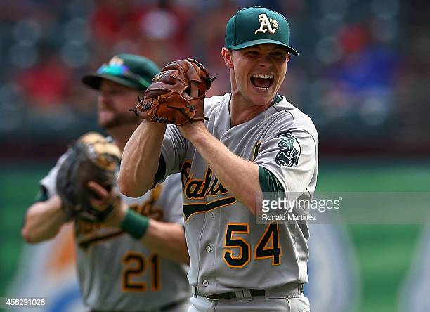 Sonny Gray of the Oakland Athletics celebrates after defeating the Texas Rangers 40 and advancing to the MLB playoffs at Globe Life Park in Arlington...