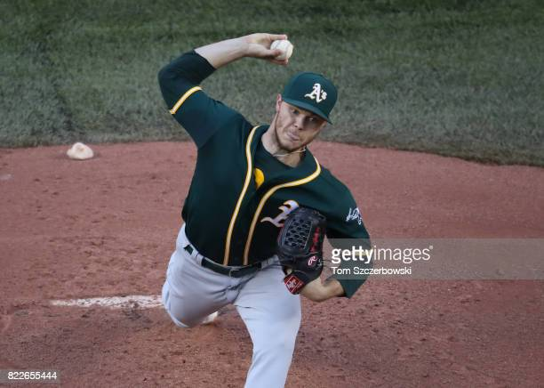 Sonny Gray of the Oakland Athletics delivers a pitch in the first inning during MLB game action against the Toronto Blue Jays at Rogers Centre on...