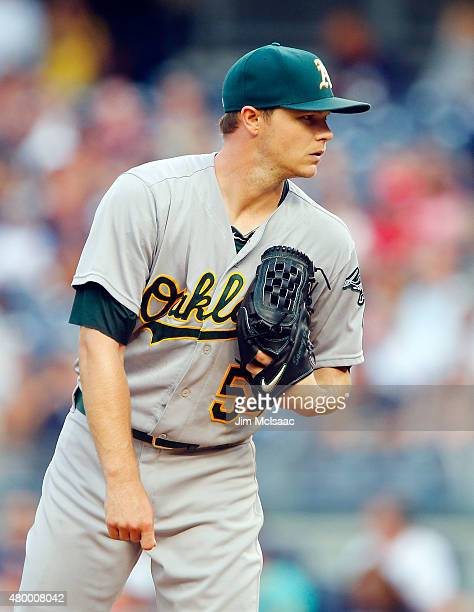 Sonny Gray of the Oakland Athletics in action against the New York Yankees at Yankee Stadium on July 5 2015 in the Bronx borough of New York City The...