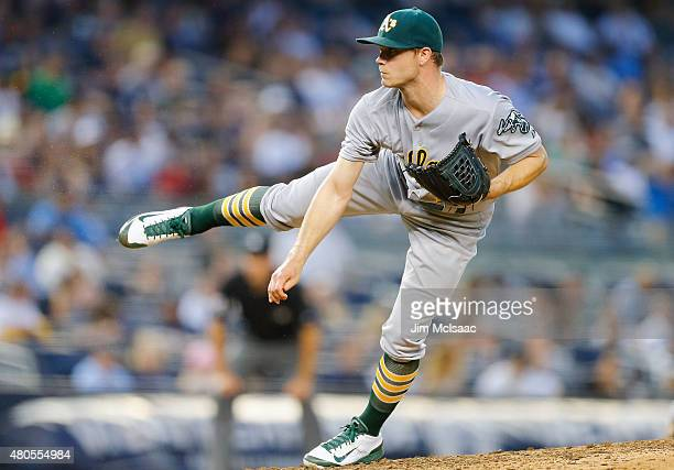 Sonny Gray of the Oakland Athletics in action against the New York Yankees at Yankee Stadium on July 7 2015 in the Bronx borough of New York City The...