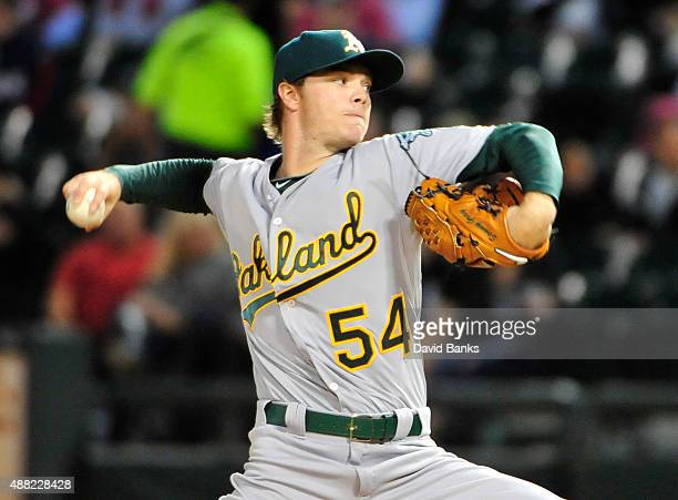 Sonny Gray of the Oakland Athletics pitches against the Chicago White Sox during the first inning on September 14 2015 at US Cellular Field in...