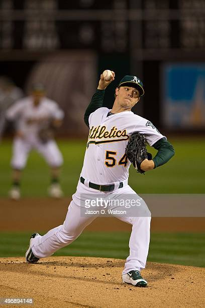 Sonny Gray of the Oakland Athletics pitches against the San Francisco Giants during the first inning at Oco Coliseum on September 25 2015 in Oakland...