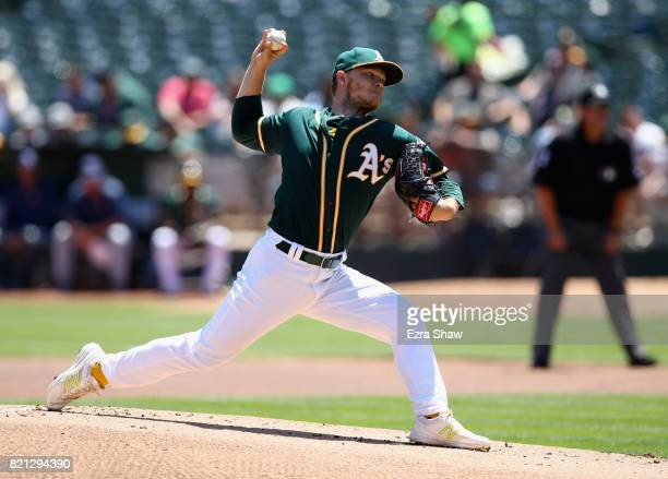 Sonny Gray of the Oakland Athletics pitches against the Tampa Bay Rays at Oakland Alameda Coliseum on July 19 2017 in Oakland California