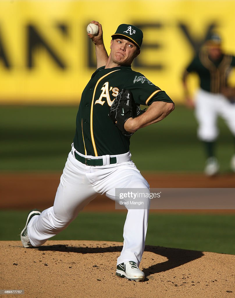 Sonny Gray #54 of the Oakland Athletics pitches against the Washington Nationals during the game at O.co Coliseum on Saturday, May 10, 2014 in Oakland, California.