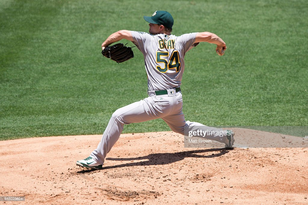<a gi-track='captionPersonalityLinkClicked' href=/galleries/search?phrase=Sonny+Gray&family=editorial&specificpeople=8046451 ng-click='$event.stopPropagation()'>Sonny Gray</a> #54 of the Oakland Athletics pitches during the first inning of the game against the Los Angeles Angels of Anaheim at Angel Stadium of Anaheim on June 26, 2016 in Anaheim, California.