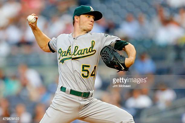 Sonny Gray of the Oakland Athletics pitches in the first inning against the New York Yankees at Yankee Stadium on July 7 2015 in the Bronx borough of...