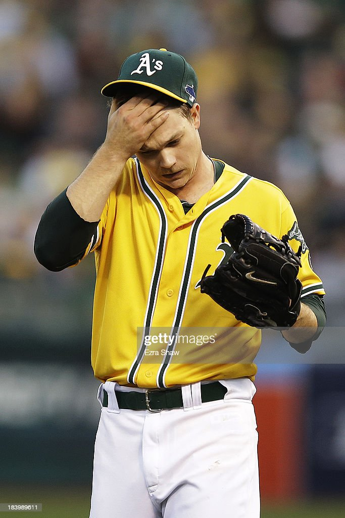 <a gi-track='captionPersonalityLinkClicked' href=/galleries/search?phrase=Sonny+Gray&family=editorial&specificpeople=8046451 ng-click='$event.stopPropagation()'>Sonny Gray</a> #54 of the Oakland Athletics reacts after giving up a single to Jhonny Peralta #27 of the Detroit Tigers in the fourth inning during Game Five of the American League Division Series at O.co Coliseum on October 10, 2013 in Oakland, California.