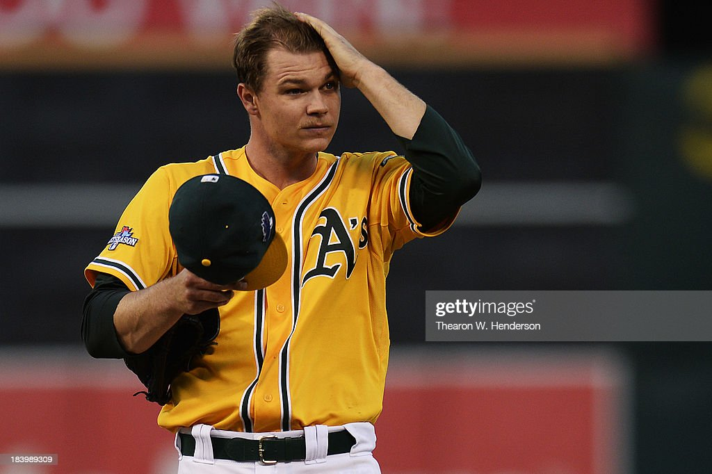 Sonny Gray #54 of the Oakland Athletics reacts after loading the bases in the fourth inning against the Detroit Tigers during Game Five of the American League Division Series at O.co Coliseum on October 10, 2013 in Oakland, California.