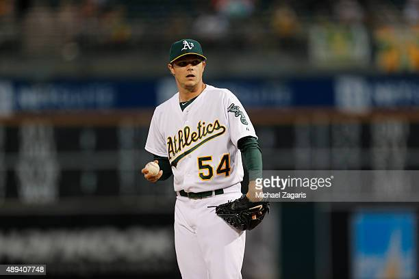 Sonny Gray of the Oakland Athletics stands on the mound during the game against the Houston Astros at Oco Coliseum on September 8 2015 in Oakland...