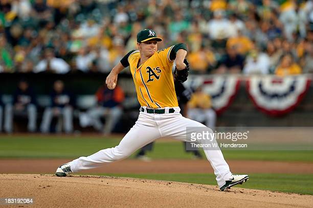 Sonny Gray of the Oakland Athletics throws a pitch in the first inning against the Detroit Tigers during Game Two of the American League Division...