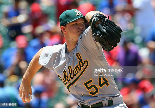 Sonny Gray of the Oakland Athletics throws against the Texas Rangers in the first inning at Globe Life Park in Arlington on June 25 2015 in Arlington...