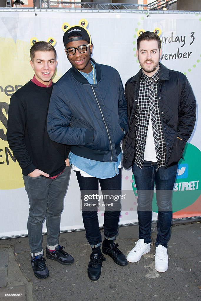 Sonny Jay, Te Qhario Eugene and Eddie Brett of The Loveable Rogues attend the BBC Children In Need Pudsey Street event at Covent Garden on November 3, 2012 in London, England.