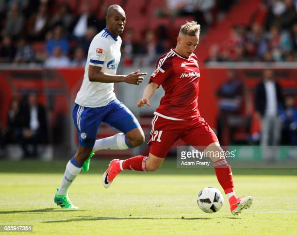 Sonny Kittel of Ingolstadt 04 misses a good chance during the Bundesliga match between FC Ingolstadt 04 and FC Schalke 04 at Audi Sportpark on May 20...