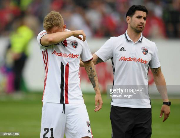 Sonny Kittel of Ingolstadt shows his disappointment after the Bundesliga match between SC Freiburg and FC Ingolstadt 04 at SchwarzwaldStadion on May...