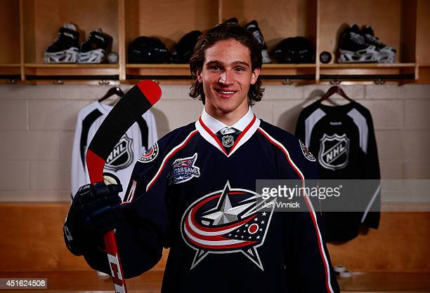 Sonny Milano 16th overall pick of the Columbus Blue Jackets poses for a portrait during the 2014 NHL Entry Draft at Wells Fargo Center on June 27...