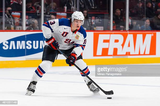Sonny Milano of Team United States looks to play the puck during the 2015 IIHF World Junior Hockey Championship game against Team Slovakia at the...