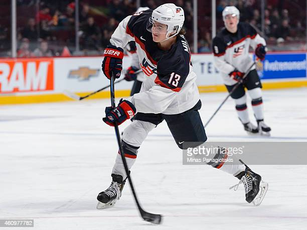 Sonny Milano of Team United States shoots the puck during the 2015 IIHF World Junior Hockey Championship game against Team Germany at the Bell Centre...