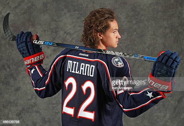 Sonny Milano of the Columbus Blue Jackets poses for an NHLPA Rookie Showcase portrait at the Westin Harbour Castle on August 312015 in Toronto...