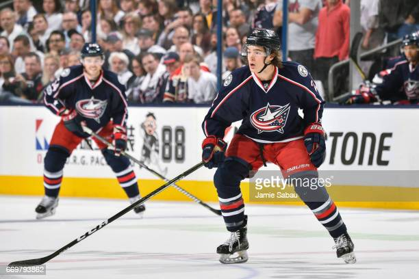 Sonny Milano of the Columbus Blue Jackets skates against the Pittsburgh Penguins in Game Three of the Eastern Conference First Round during the 2017...