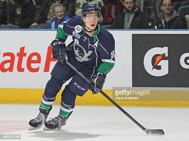 Sonny Milano of the Plymouth Whalers skates against the London Knights in an OHL game at Budweiser Gardens on December 12 2014 in London Ontario...
