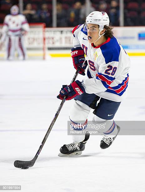 Sonny Milano of the USA National Junior Team skates during NCAA exhibition hockey against the Massachusetts Minutemen at the Mullins Center on...