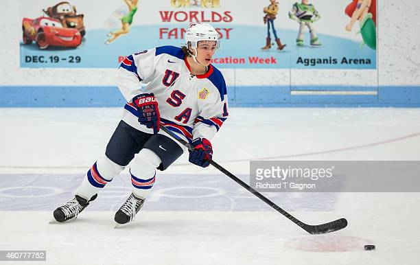 Sonny Milano of the USA National Junior Team warms up prior to NCAA exhibition hockey against the Boston University Terriers at Walter Brown Arena on...