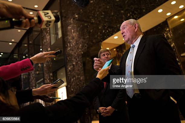 Sonny Perdue former governor of Georgia speaks to reporters at Trump Tower November 30 2016 in New York City Presidentelect Donald Trump and his...