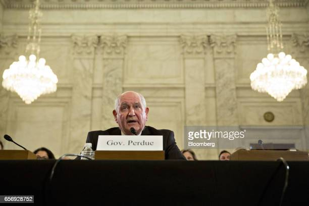 Sonny Perdue US secretary of agriculture nominee for President Donald Trump speaks during a Senate Agriculture Committee confirmation hearing in...