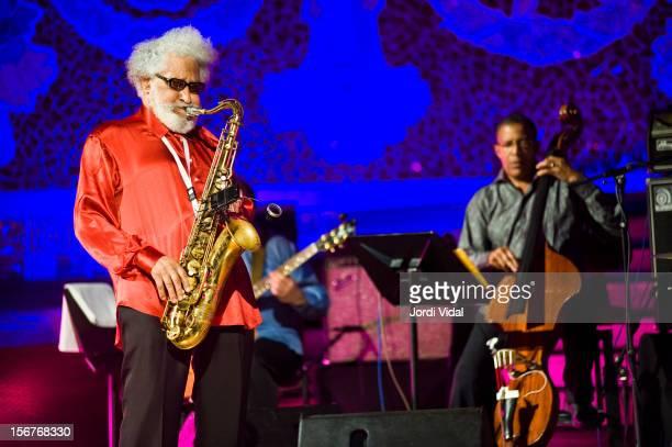 Sonny Rollins and Bob Cranshaw perform on stage during VollDamm Festival Internacional de Jazz de Barcelona at Palau De La Musica on November 20 2012...